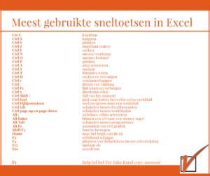 Excel sneltoetsen Ter Zake Excel