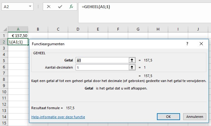 Functieargument geheel Excel