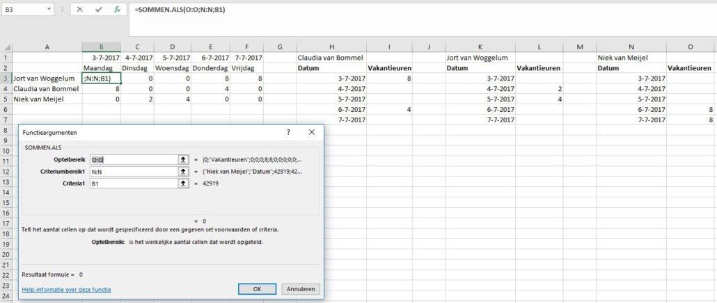 Sommen.als in Excel